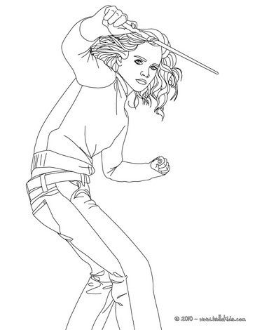 Emma Watson With Hermione Granger S Magic Wand Coloring Page More