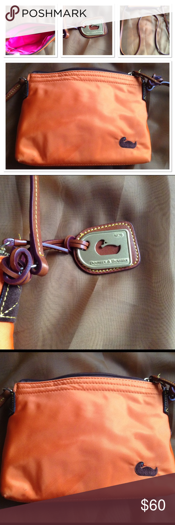 Dooney & Bourke Crossover bag, long straps,, used only twice, bright color, inside new no stains, picture num. 4 was extremely zoomed in has a small mark not sure how, looks like a pen mark ( able to be removed) Dooney & Bourke Bags Crossbody Bags