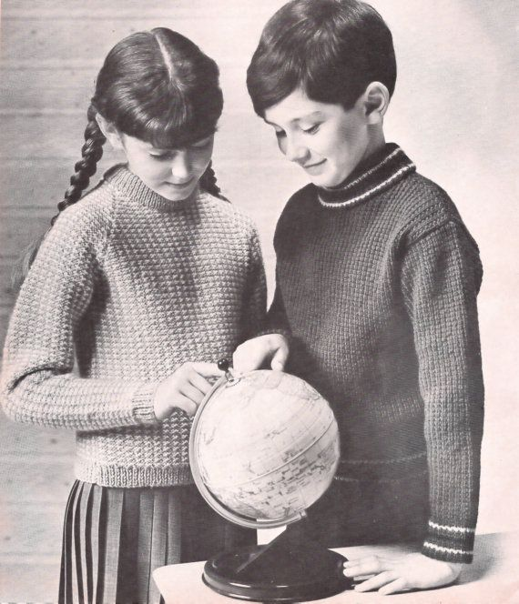 Boys Girls Two PDF Knitting Patterns Vintage Pullover Sweater ...