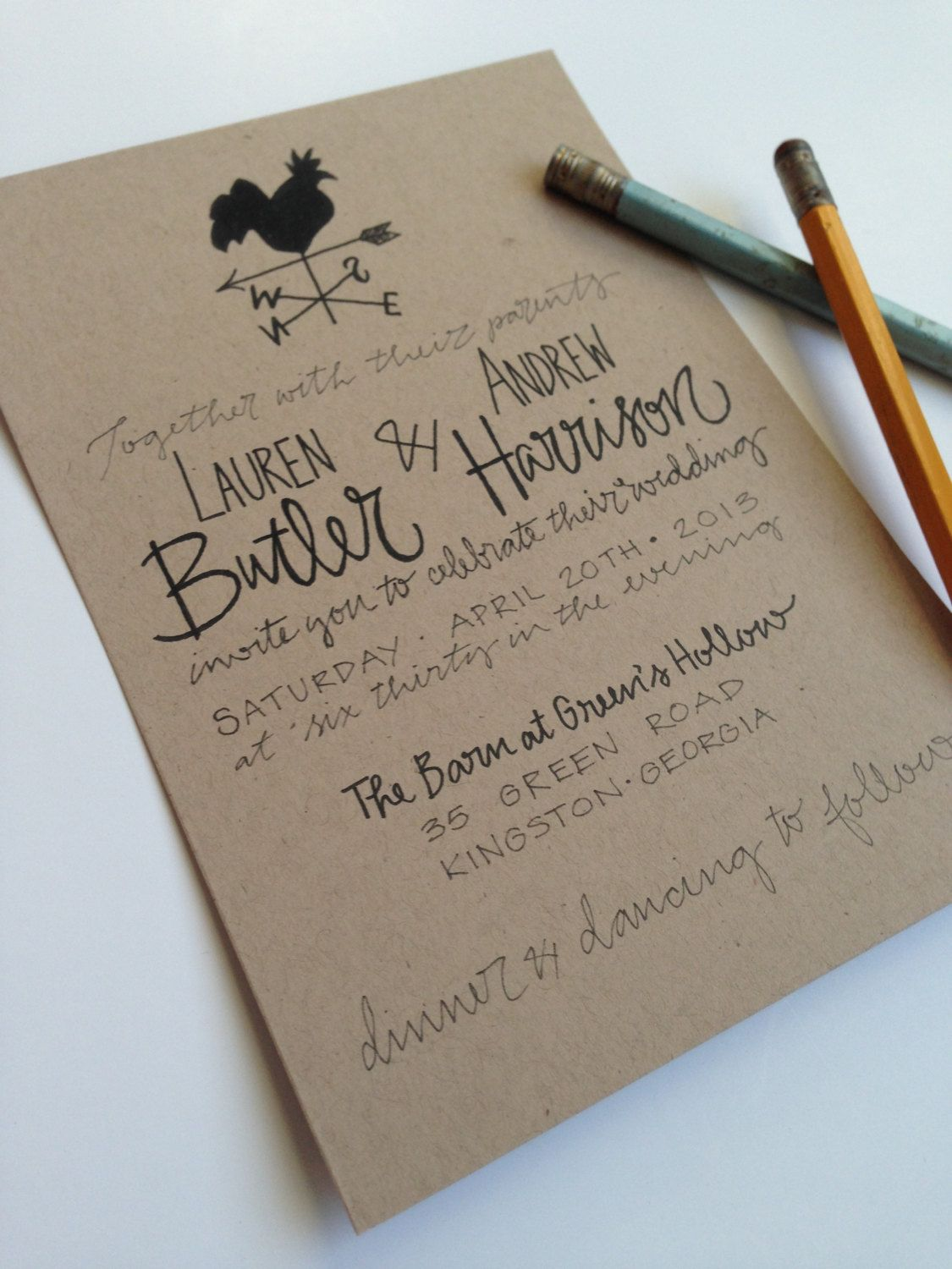 Kraft Paper Weathervane Rustic Wedding Invitations A Doodle Doo