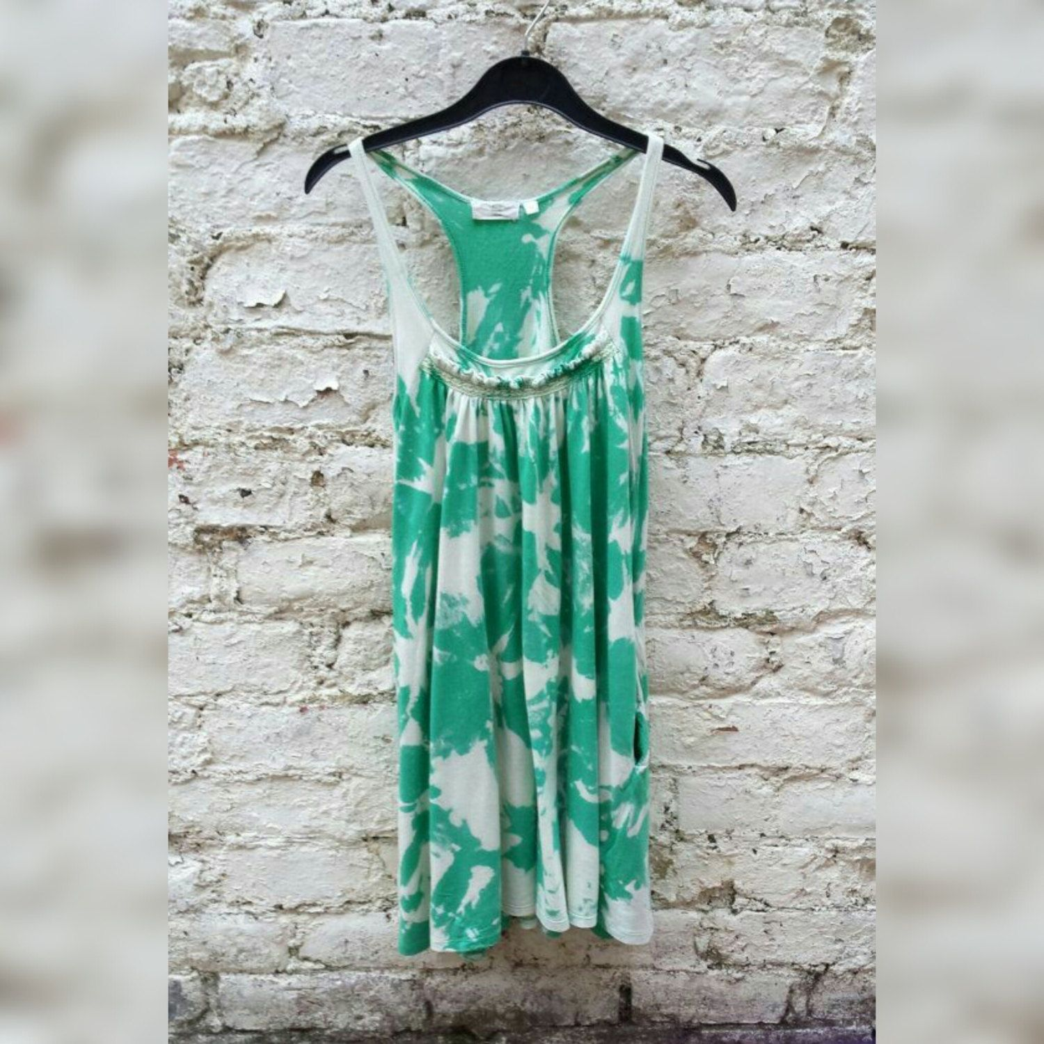 Womens Top Green Tie Dye Womens Vest Top to fit UK size 10 or US size 6 Hippie Boho Christmas Gifts tie dye top womens tie dye boho top hippie top gifting ideas trending items womens tops christmas tops christmas gifts gifts for her winter finds fashion trends green 19.50 GBP #goriani