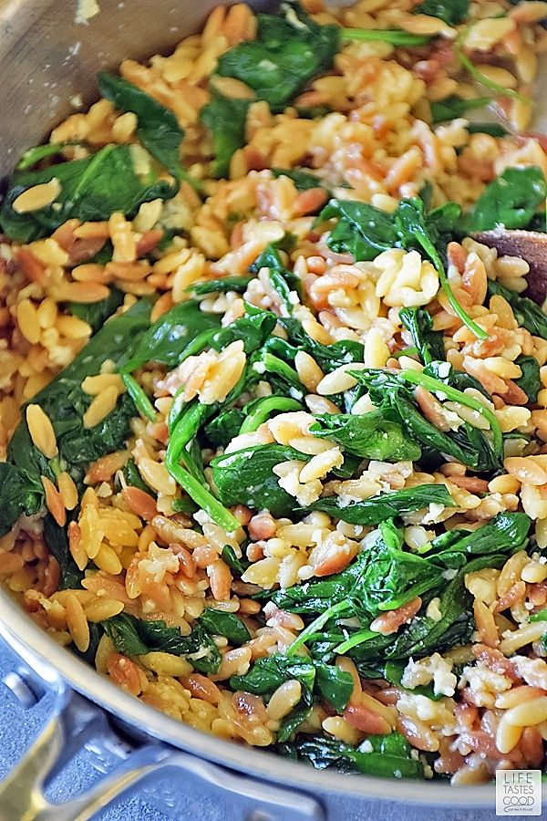 Orzo Pasta with Spinach and Parmesan #chickensidedishes