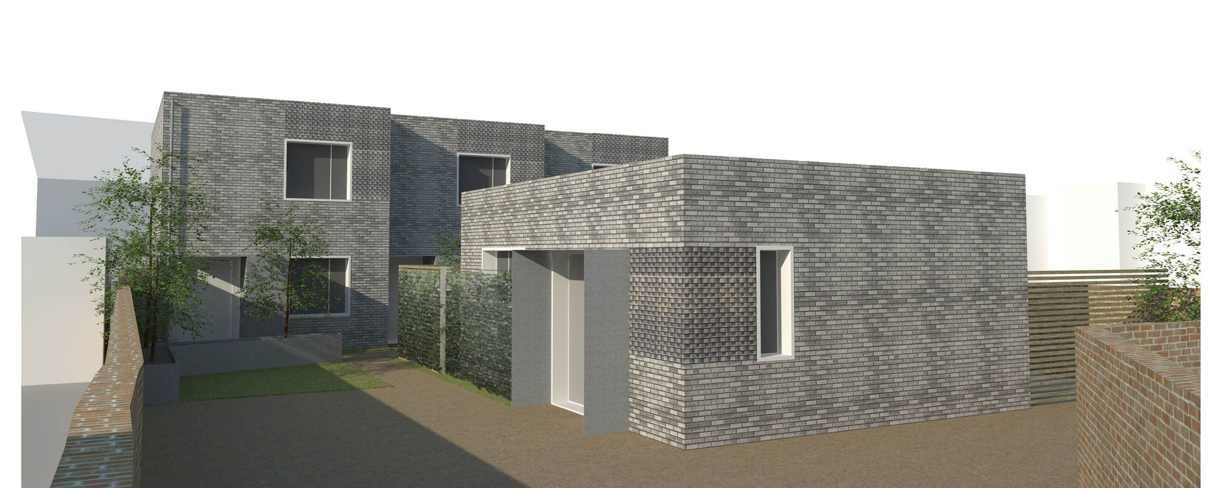 New build development project for a row of 3, 3 bedroom terrace houses and an individual 4 bed home in South East London.