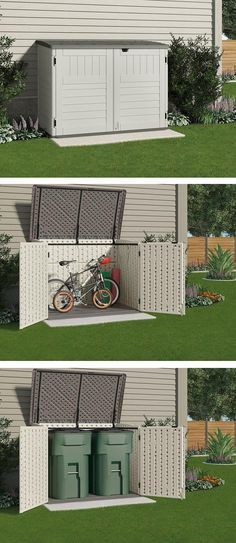 This Small Storage Shed Is Just The Right Size To Store Your Bicycles Safely Or To Hide Garbage Cans It Won T Shed Storage Backyard Small Backyard Landscaping