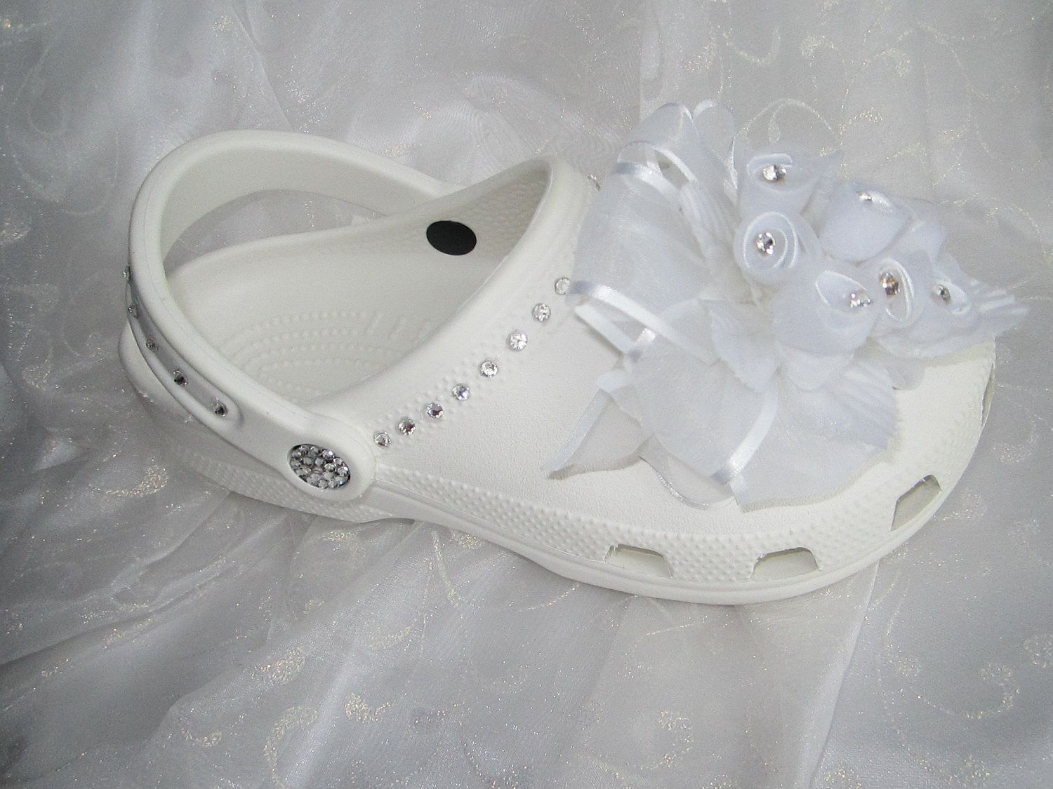 3e73f0eb4df944 Swarovski Crystal Wedding Bridal Rose Bouquet Croc Shoes. Wedding crocs.  Seriously
