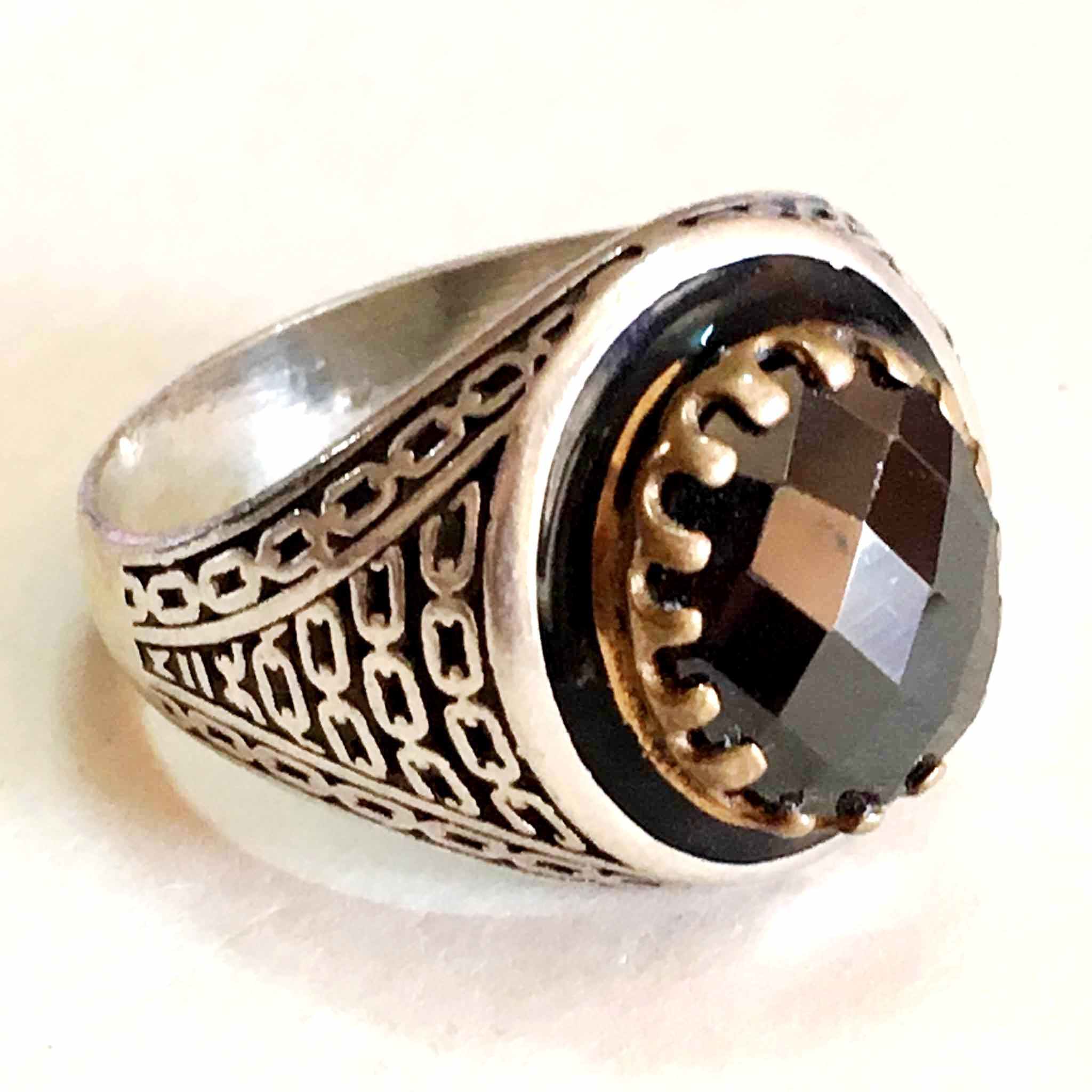 WOW handmade 925 sterling silver ring nice black stone middle eastern jewelry
