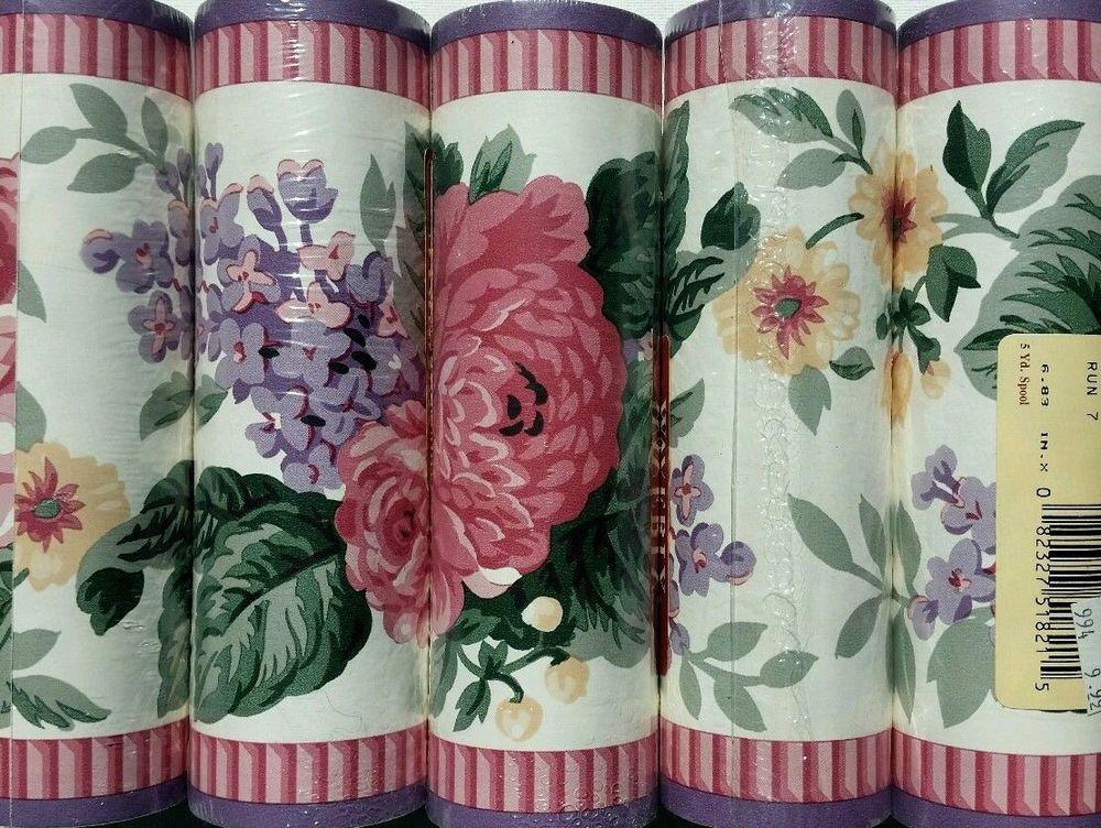 Waverly Floral Wallpaper Border 5 Rolls Pink & Purple Pre