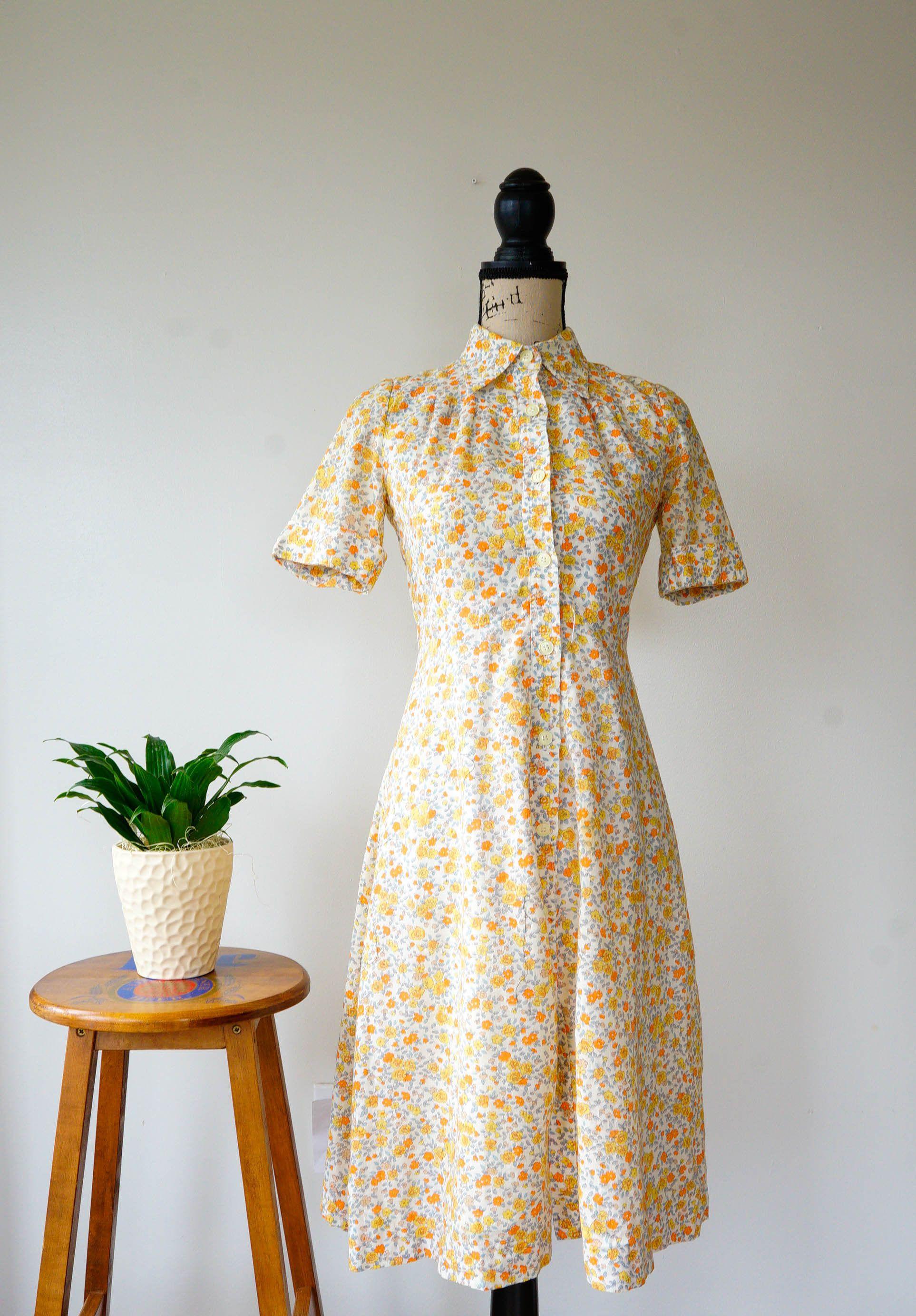 Vintage Dress  Vintage Girls Dress  Black Yellow Green Flowers Floral Dress  Hand Sewn Dress  1970s 70s  Medium M Large L