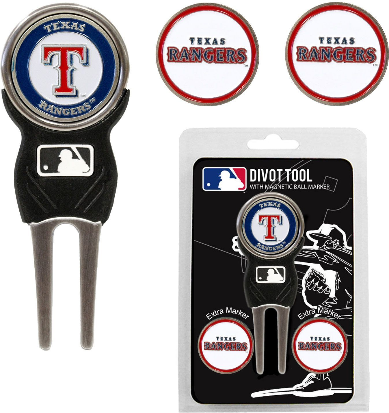 Mark Your Ball And Keep The Green Clean Using The Team Golf Texas Rangers Divot Tool And Marker Set Three Double Side Golf Divot Tool Divot Tool Ball Markers