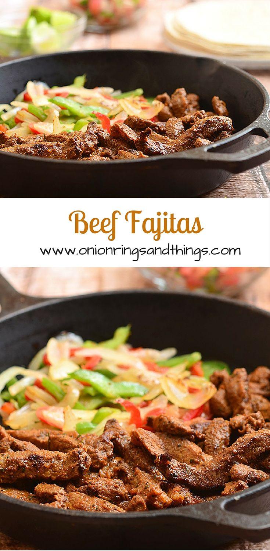 Skillet Beef Fajitas #beeffajitarecipe