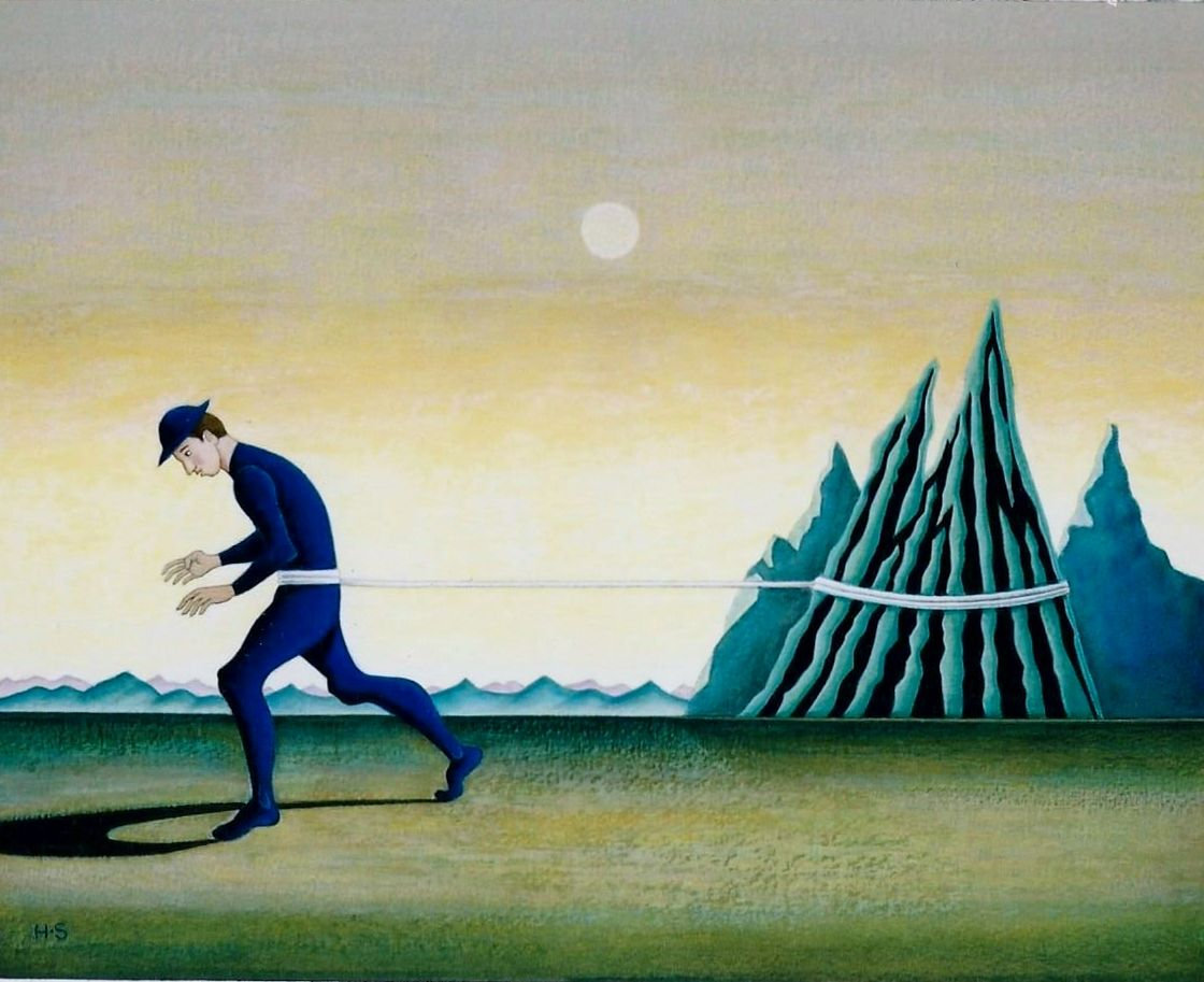 a man pull the mountain (tempera)