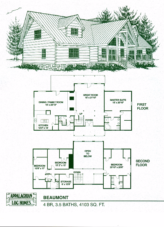 Beaumont 4 Bed 3 5 Bath 2 Stories 4103 Sq Ft Appalachian Log Timber Homes Hybrid Home Floor Log Cabin Floor Plans Cabin Floor Plans Log Home Plans