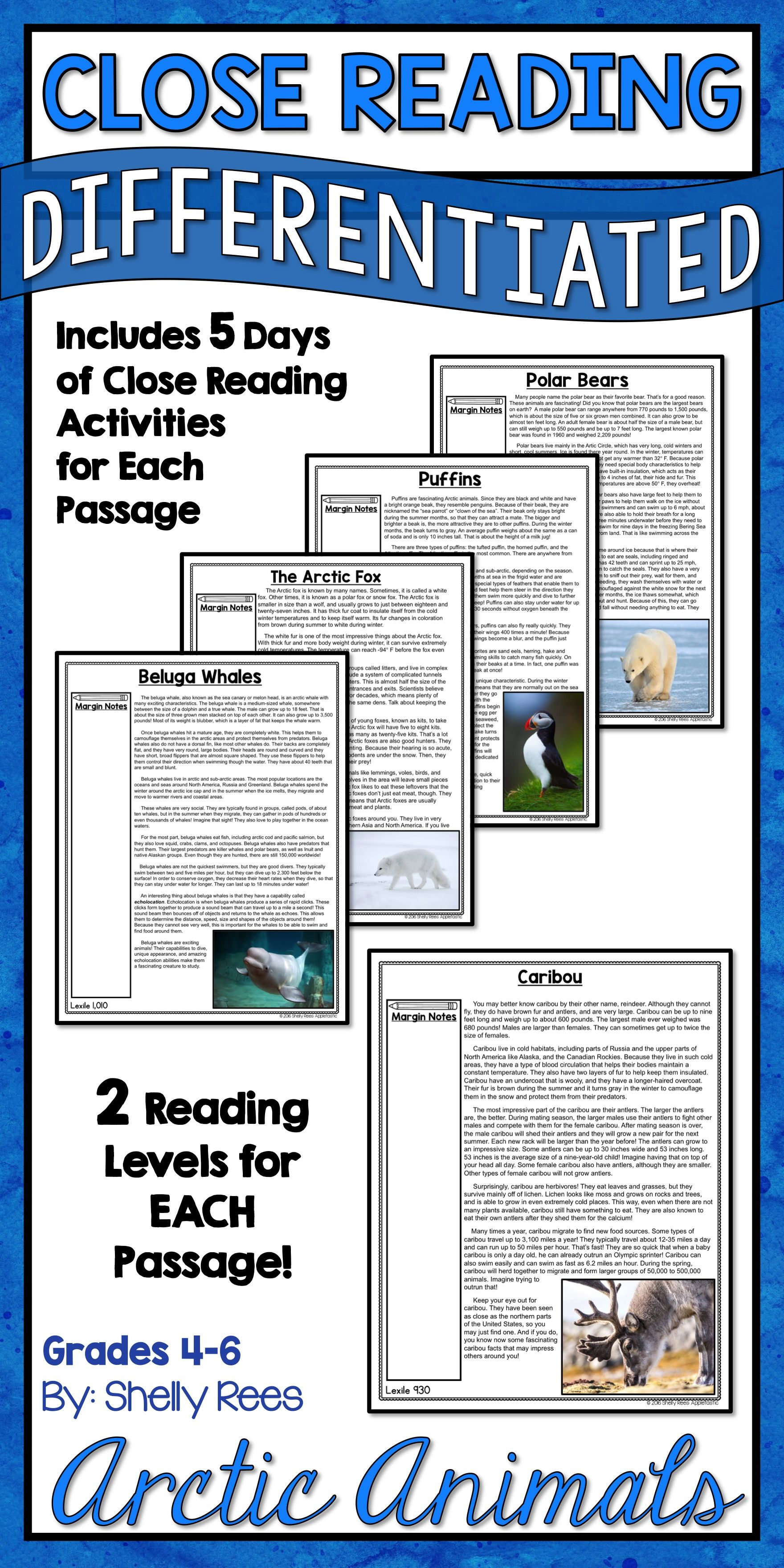 Arctic Animals Unit Reading Comprehension Passages And
