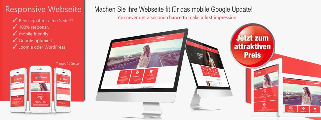 Angebot für eine responsive Webseite. Erneuern Sie ihre alte Homepage mit einem professionellen, responsiven Design zum attraktivem Sonderpreis.