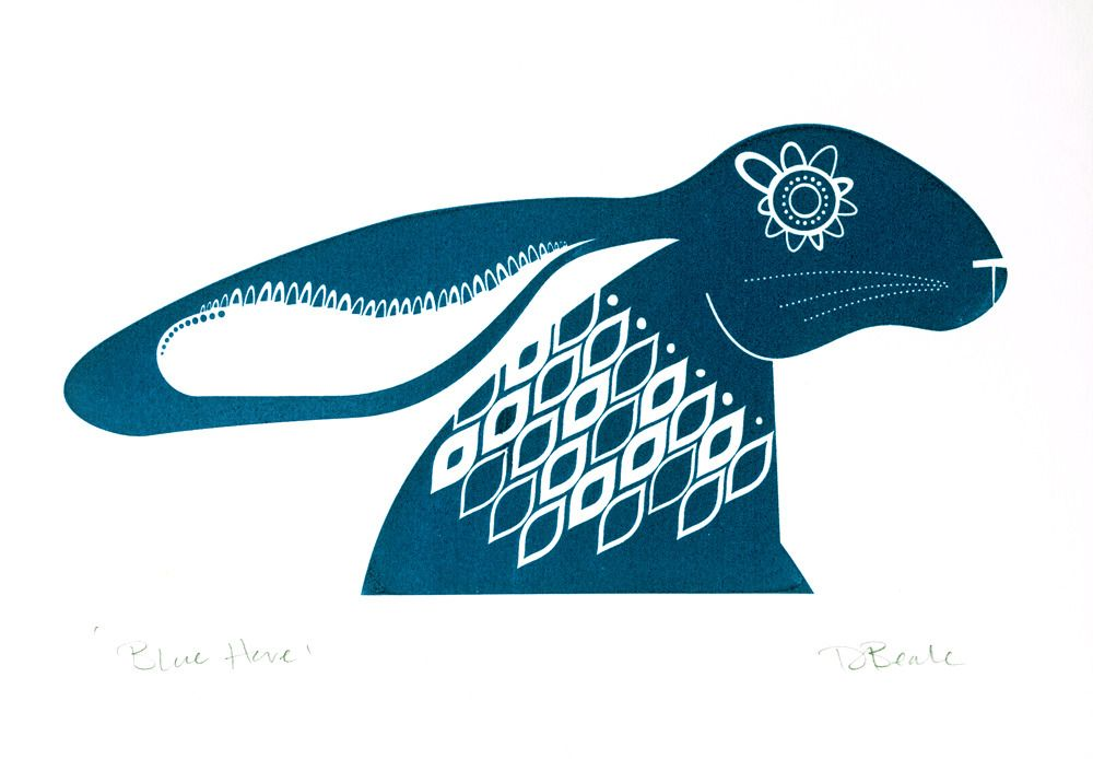 deebeale — Blue Hare - Hand Pulled, Signed, Gocco Print