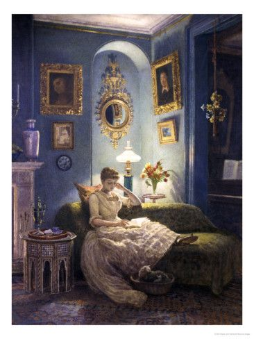 Oil painting Edward John Poynter Bedroom at night nice young girl reading book