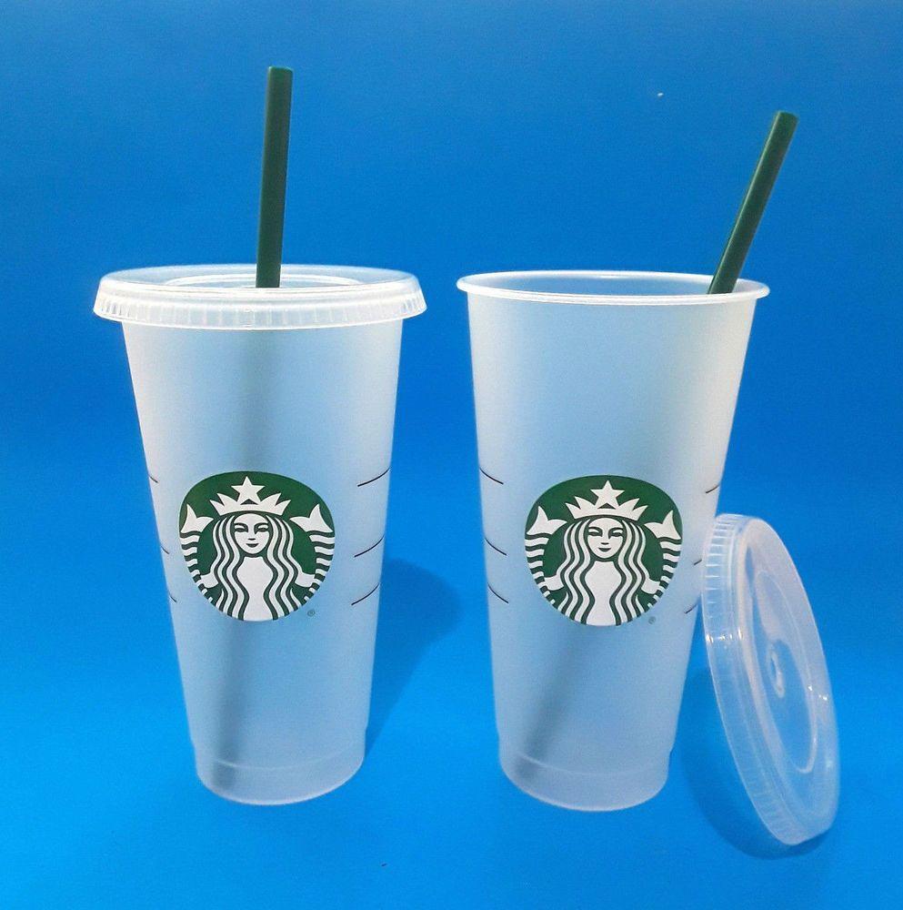 ac5e52f94e8 Lot of 2 Starbucks Reusable Venti 24 fl oz Frosted Ice Cold Drink Cup 2018 # Starbucks