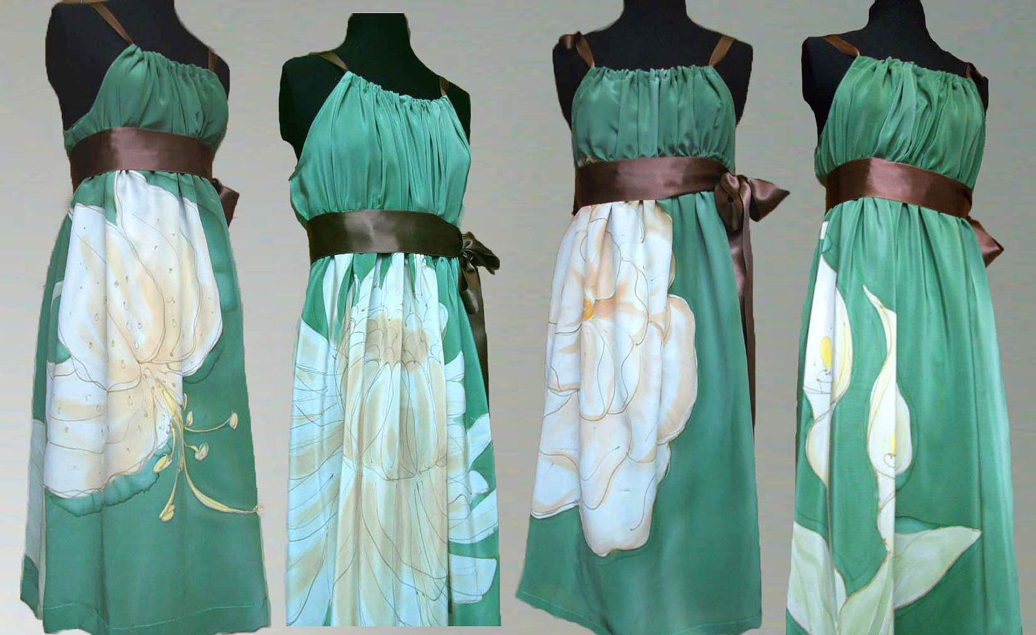 Four Hand Painted Custom Made Silk Bridesmaids Prom Formal Dresses ...