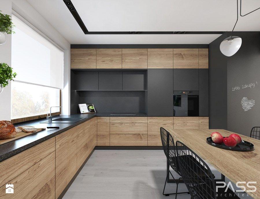 Projekt 27 Duza Zamknieta Kuchnia W Ksztalcie Litery L W Aneksie Z Oknem Styl Kitchen Cabinet Design Kitchen Furniture Design Kitchen Interior Design Modern