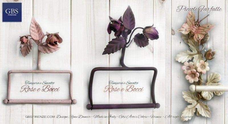 Accessori Per Il Bagno In Ferro Battuto : Rose e farfalle prtarotolo e portasciugamani in ferro battuto