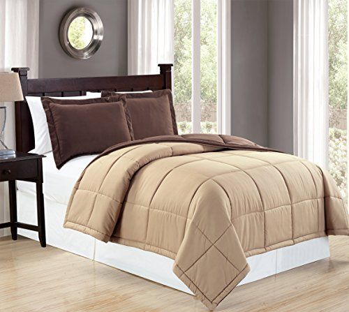 Mk Collection Reversable Brown/camel Down Alternative Comforter 3pc Full/queen