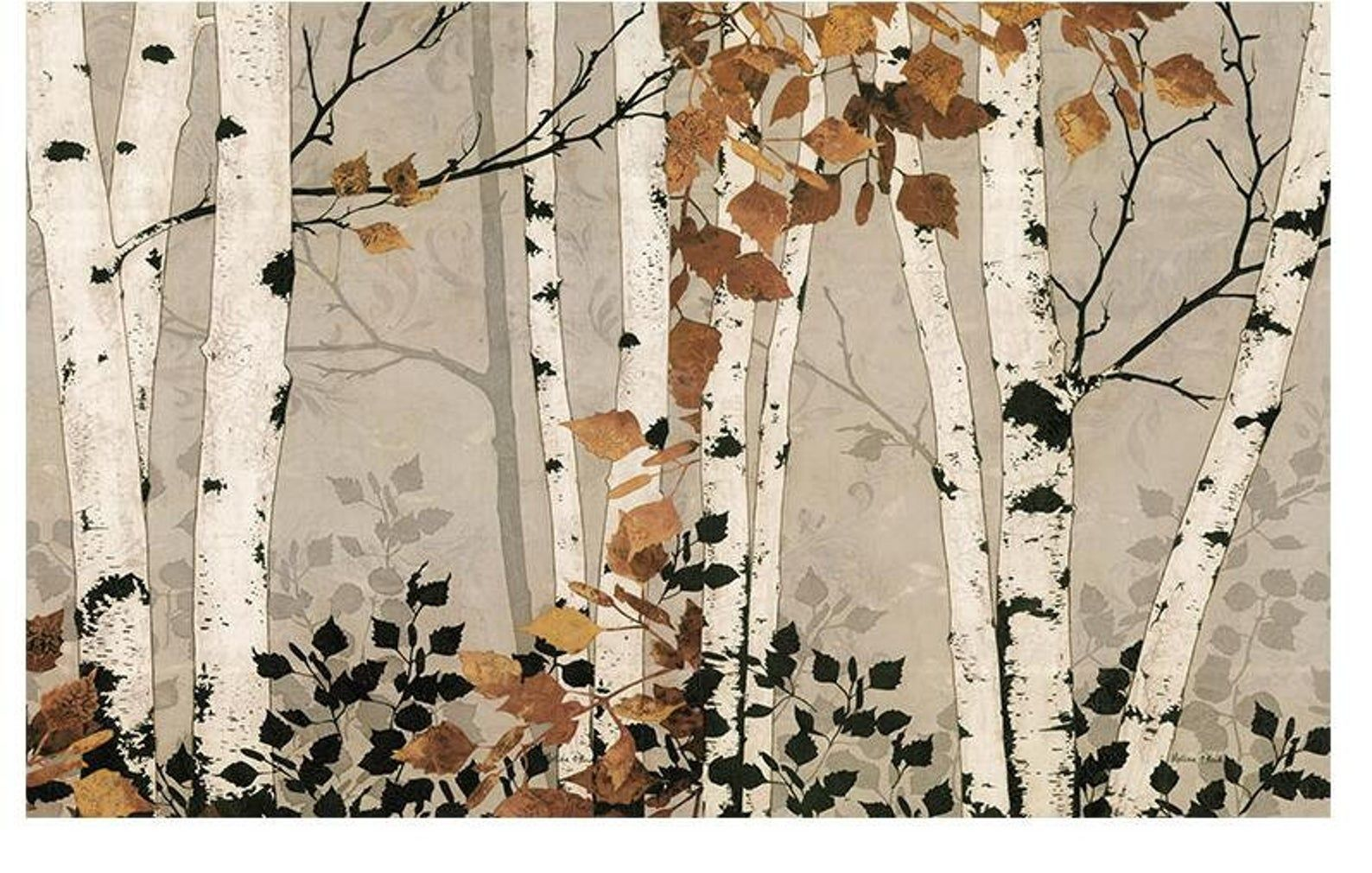Hand Painted Oil Painting Birch Trees Wallpaper Wa