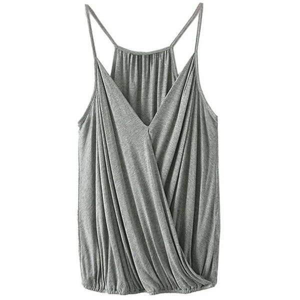 Crossed Plunging Neck Solid Color Tank Top (€12) ❤ liked on Polyvore featuring tops, plunge neck top and plunging neckline tops