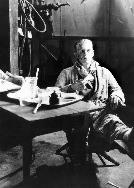 Boris Karloff relaxes on the set of Bride of Frankenstein(1935, dir. James Whale)