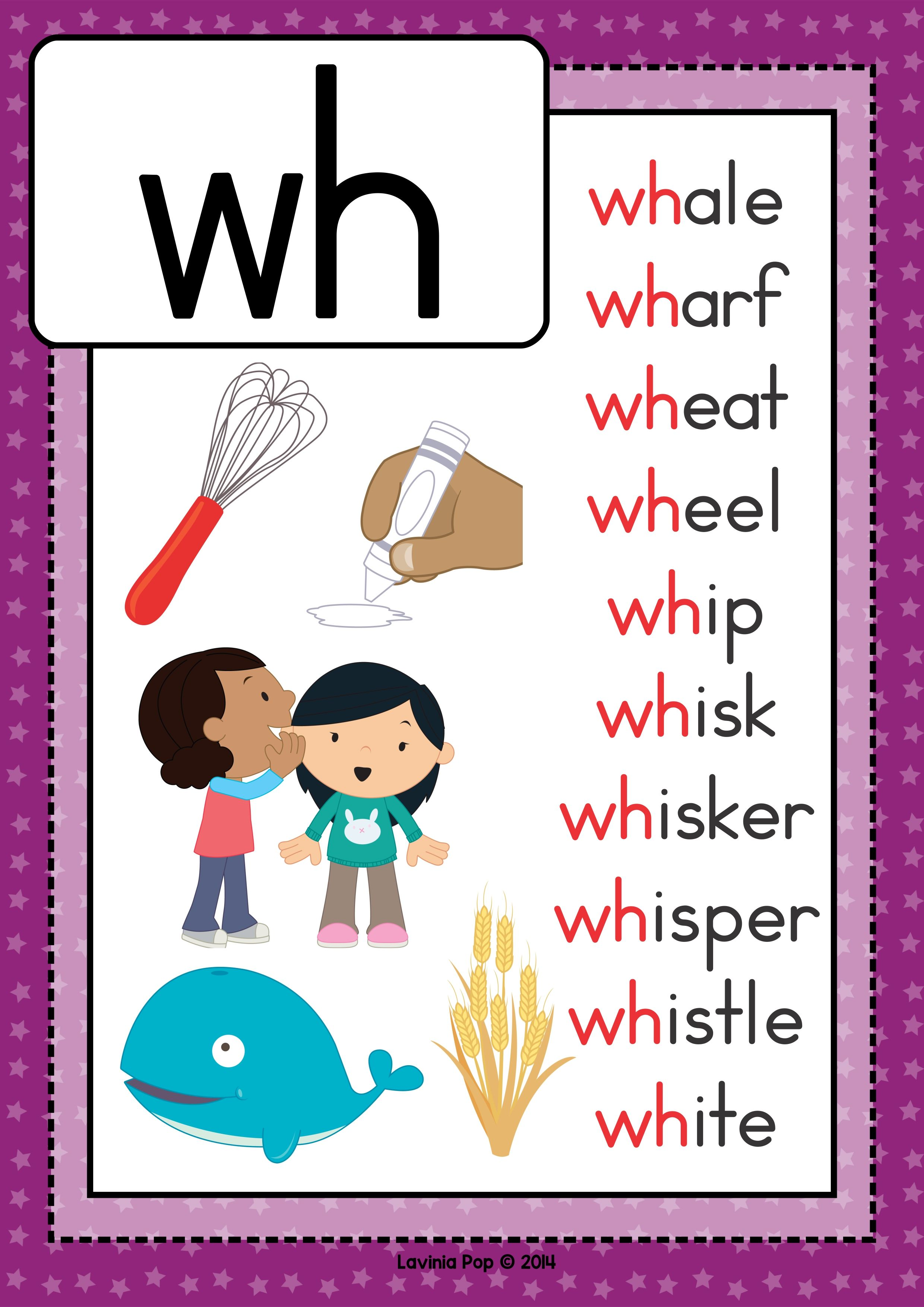 Free Digraph Wh Phonics Word Work Multiple Phonograms Poster With Words And Pictures English Phonics Phonics Reading Phonics Words [ 3508 x 2480 Pixel ]