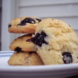 Blueberry Drop Cookies Allrecipes.com - made this with substituting oil for the shortening and soy milk for the regular milk... delicious!