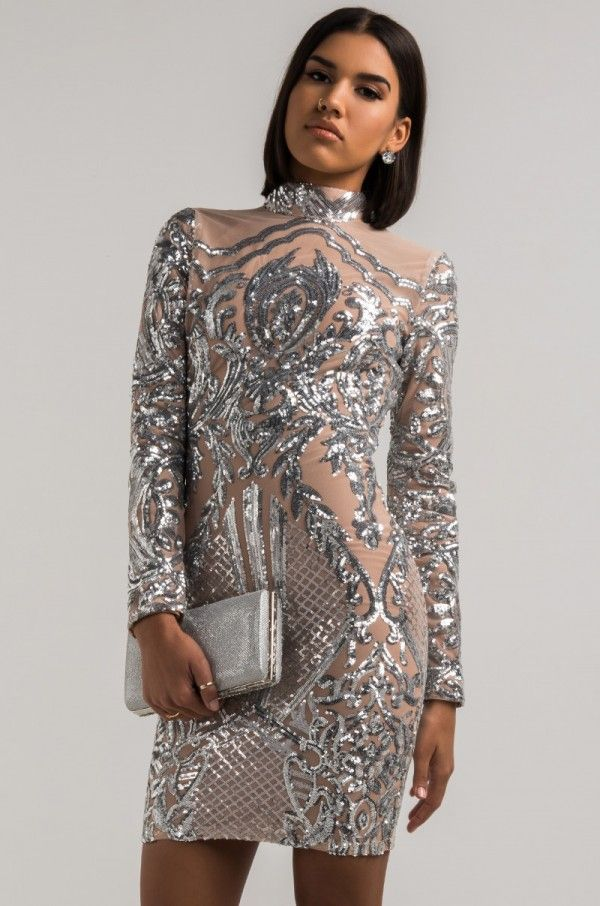 a30a0109ba6 Front View Strike The Pose Long Sleeve Sequin Dress in Silver ...