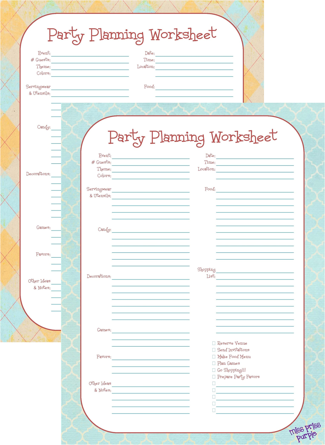 Party Planning 2 Printable