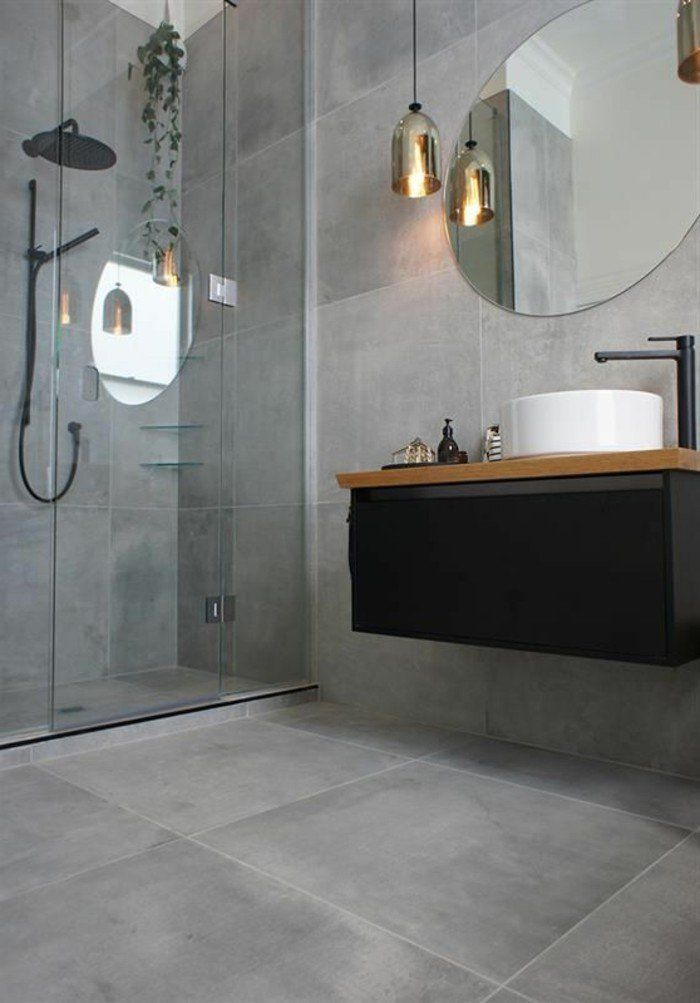 Le carrelage effet béton en 55 photos inspirantes Bath room - salle de bains design photos