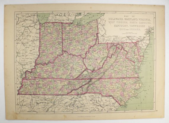 1873 Vintage Map Virginia West Virginia Map Maryland North Carolina