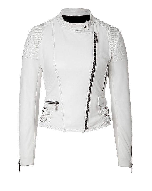 095b6a7d9 Women's Biker Style brando White Fashion Leather JAcket With stylish ...