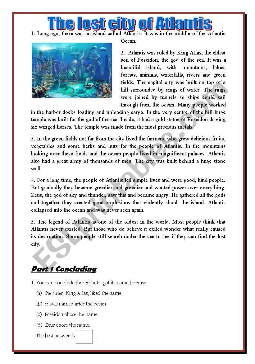 This Is A Reading Comprehension About Lost City Of Atlantis Reading Comprehension Reading Comprehension Worksheets [ 1169 x 821 Pixel ]