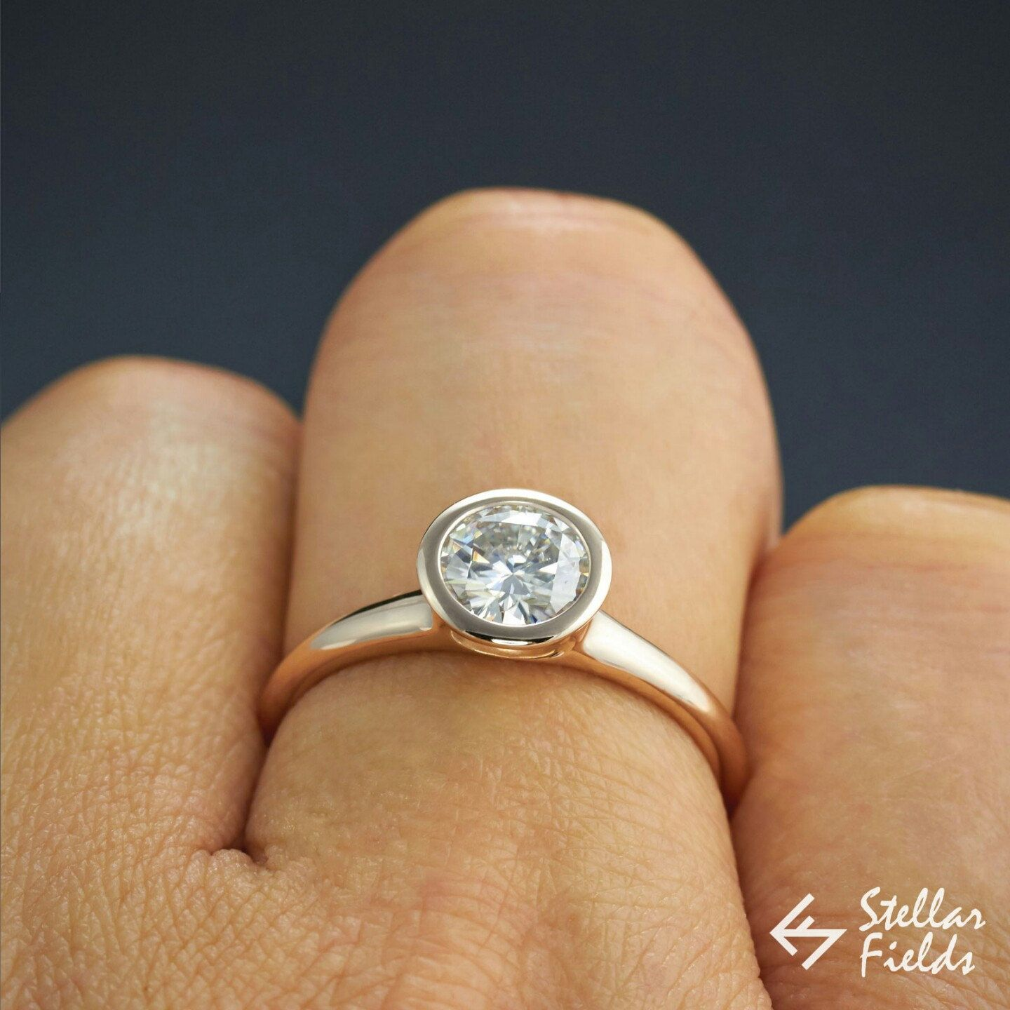 Custom Order 1ct 6 5mm Moissanite Bezel Ring Forever Brilliant