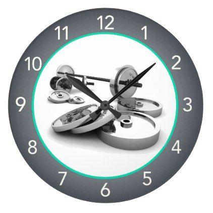 gym fitness center gray wall clock  zazzle  grey