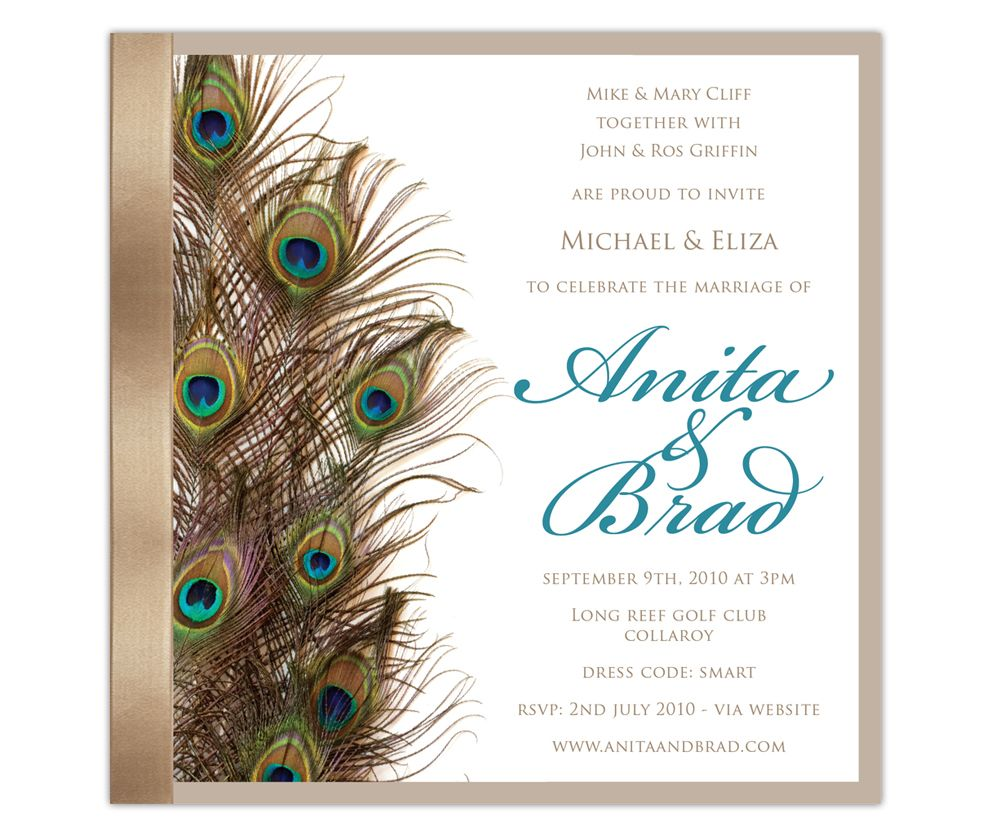 peacock wedding invitations Peacock Elegance Wedding Invitation