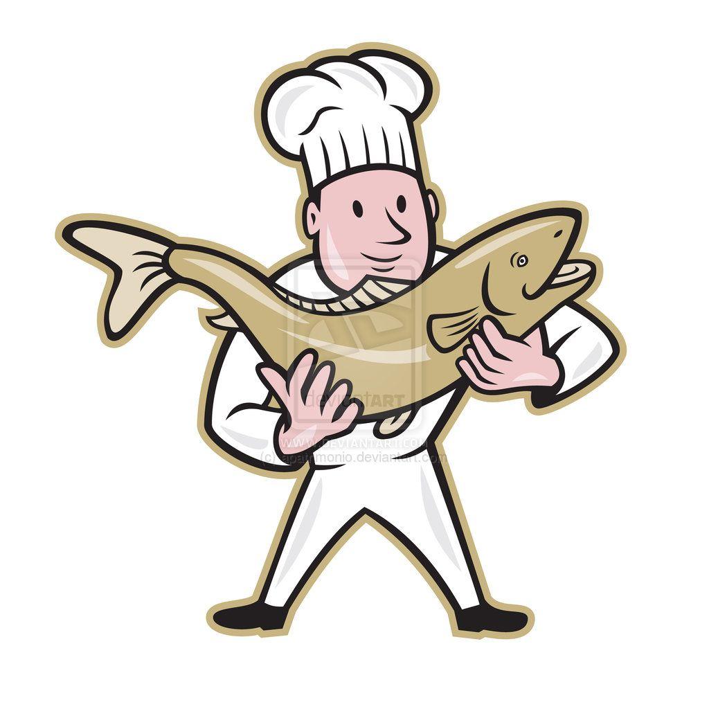 Chef Cook Handling Salmon Fish Standing Salmon Fish Fish Stand Salmon