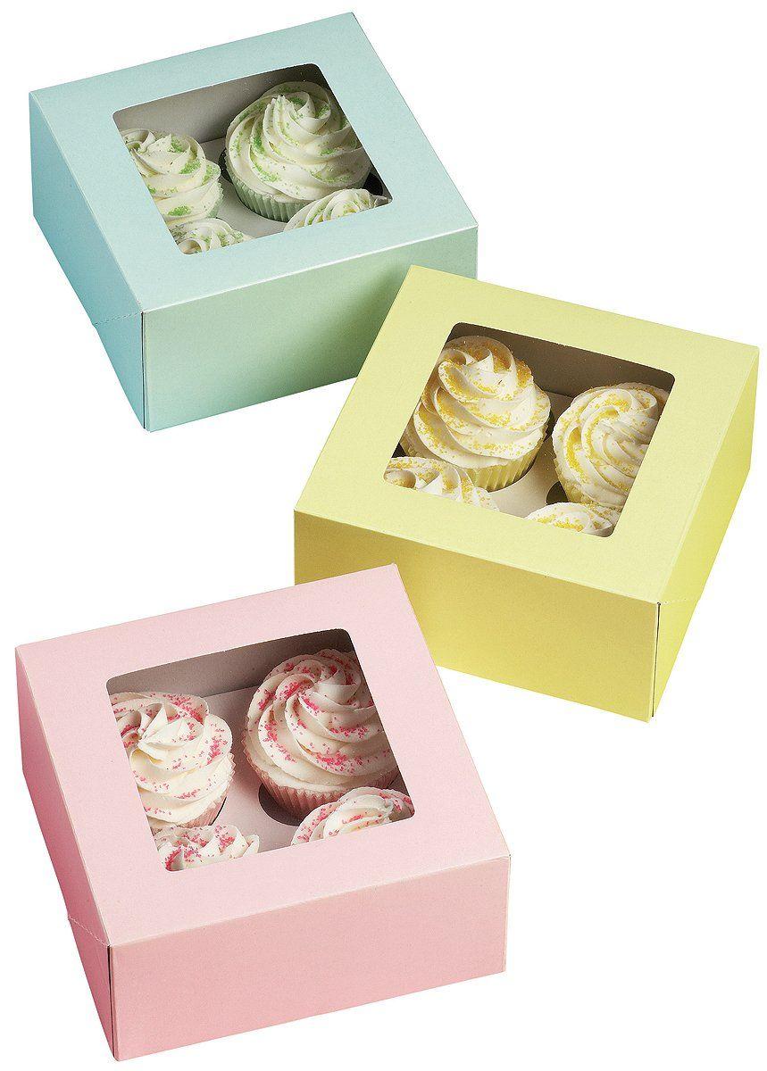 Wilton 4 cavity pastel cupcake boxes 3 count