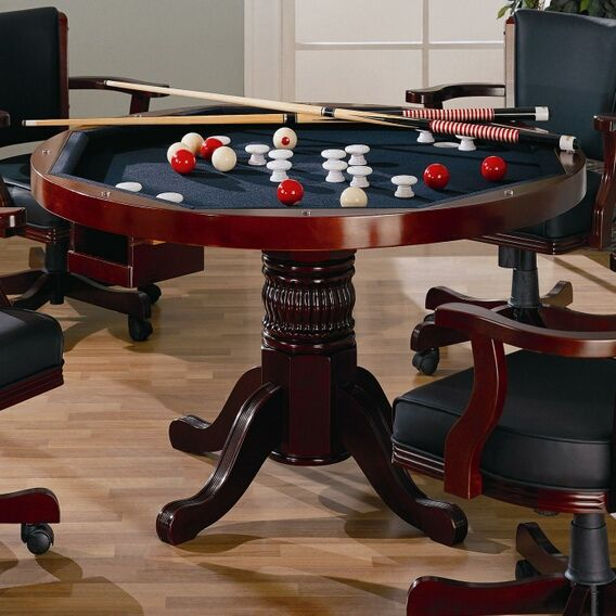 Three In One Solid Cherry Wood Pool Poker Game Dining Table Chairs Set This  Is A Brand New Designer 5 Pieces U0027three In Oneu0027 Game Table Set With 4  Matching ...