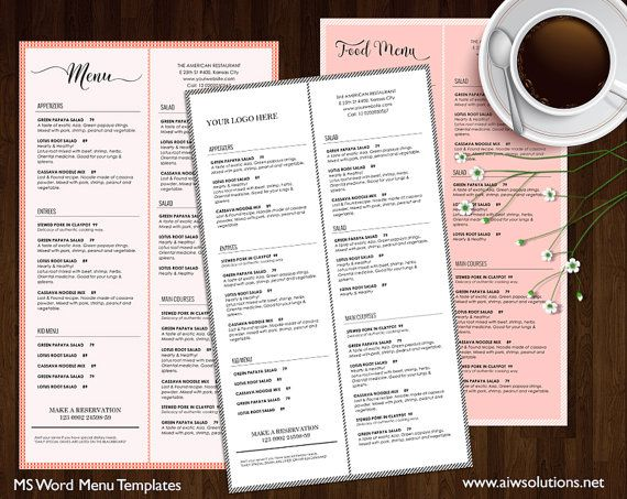 Food Menu , Printable Restaurant Menu Template, Wedding Menu