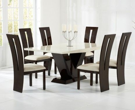Verbier 180cm Cream And Black V Pedestal Marble Dining Table With Raphael  Chairs