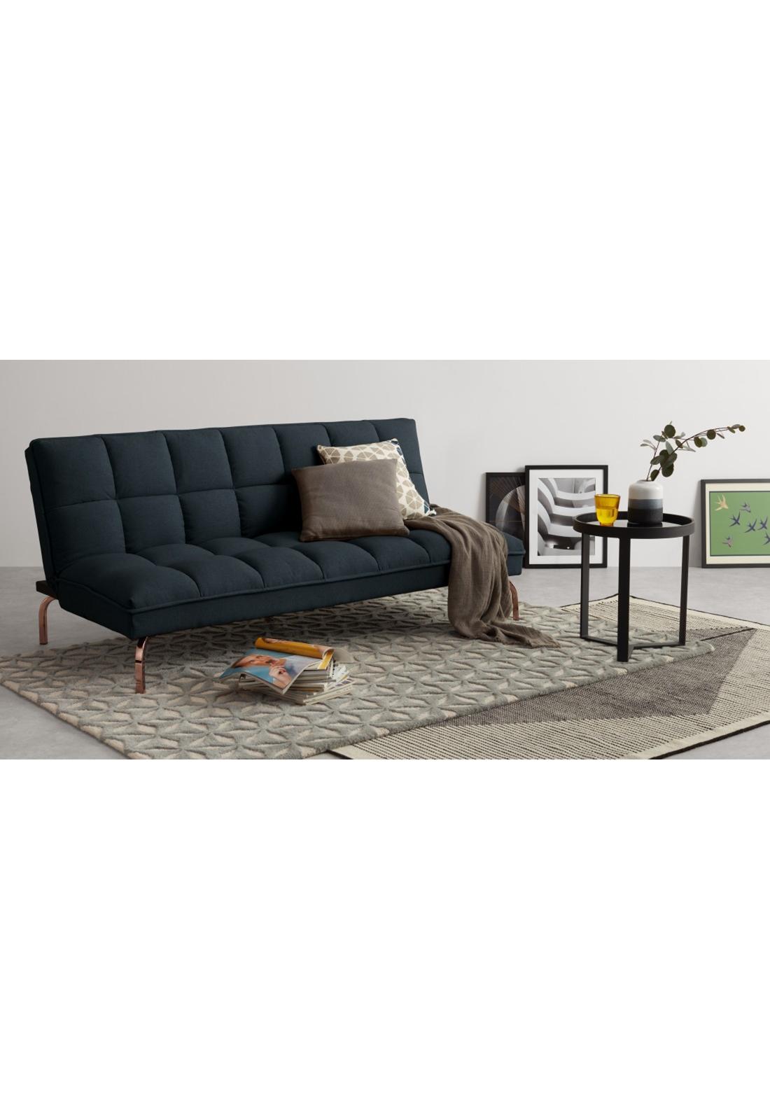 Hallie Click Clack Sofa Bed Aegean Blue With Copper Legs V 2020 G Mebel