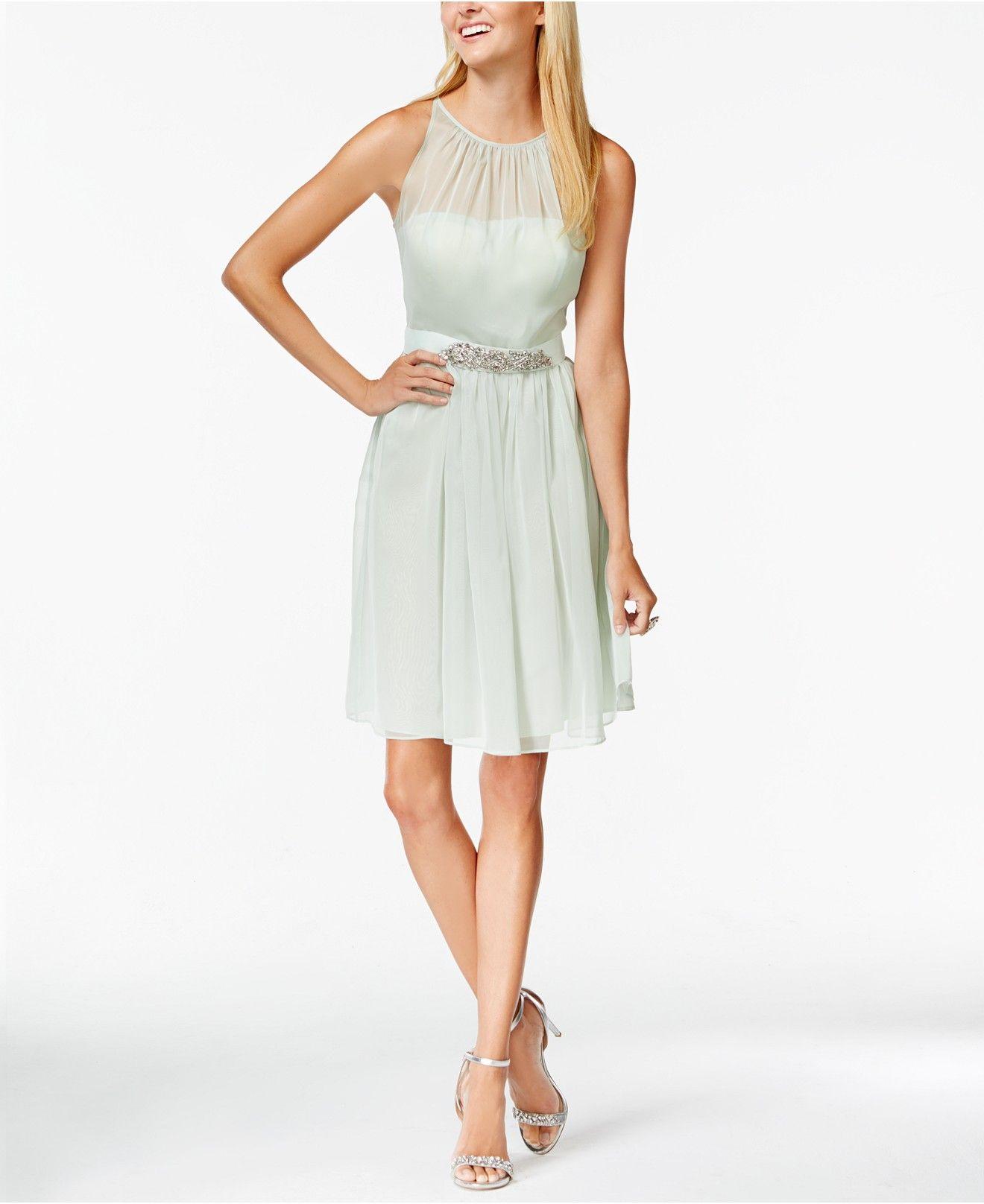 Adrianna papell belted chiffon halter dress bridesmaids
