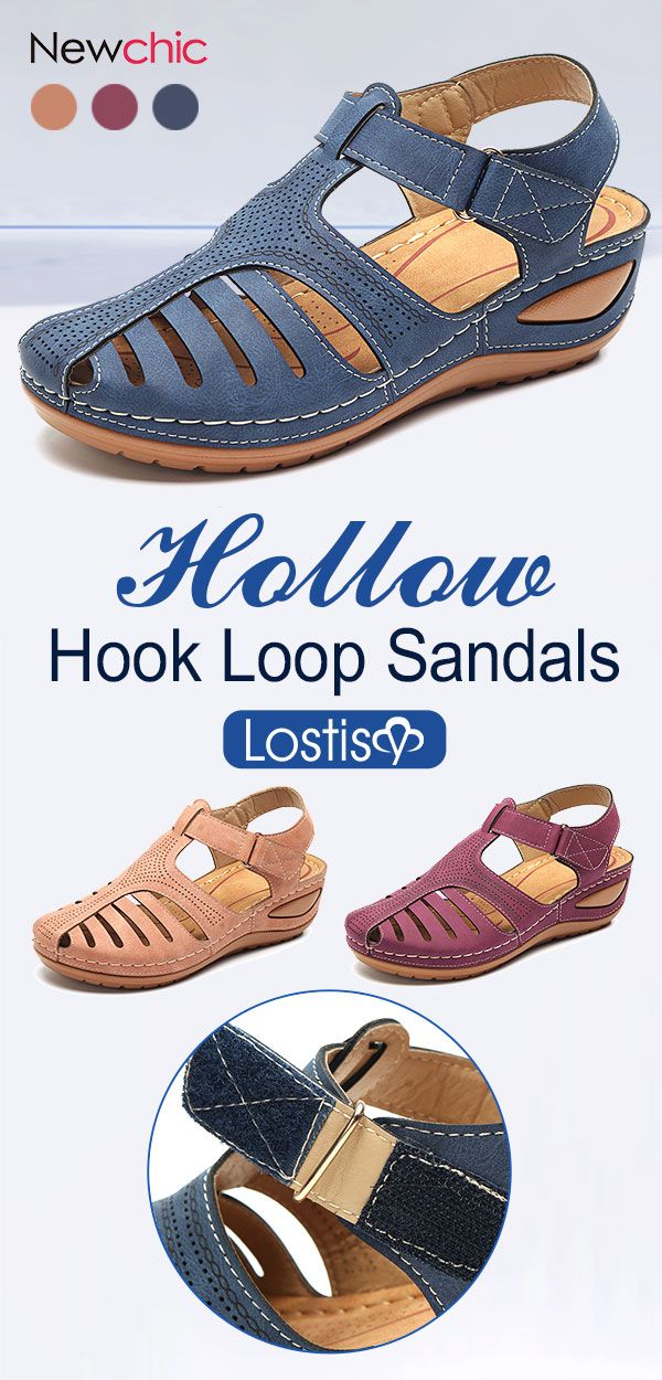 ade0044c7e1b  60% off LOSTISY Hollow Out Pure Color Breathable Hook Loop Wedges Sandals.