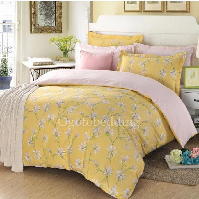 Light Yellow Country Cotton Floral Queen Comforter Sets Yellow Bedding Comforter Sets Luxury Comforter Sets