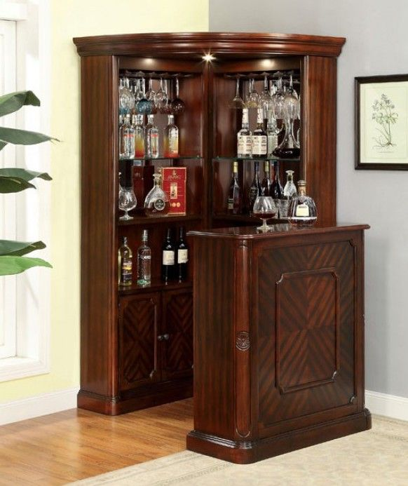 Cm Cr142 142bt Voltaire Dark Cherry Finish Wood Bar Table And Curio Cabinet In 2020 Diy Home Bar Home Bar Designs Bars For Home