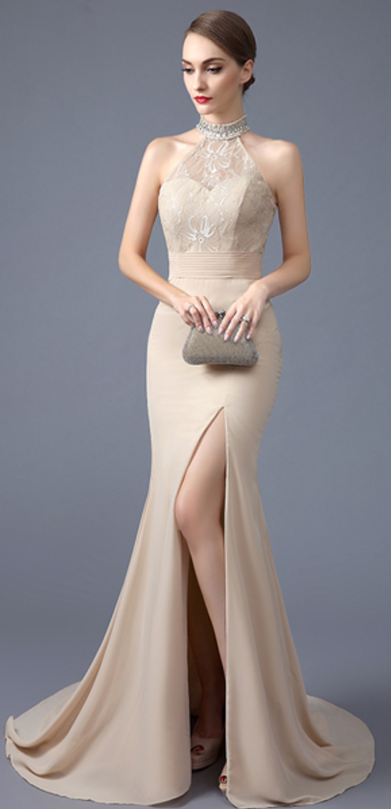 Backless Champagne Mermaid Prom Dresses High Neck Front Slit Lace Evening Dress Open Back Sexy Long Gowns Women Party